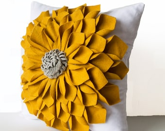 Dorm Pillows, Felt Flower Pillow Cover, Mustard Gray White Pillow Case, Floral Pillow, Gift,Anniversary, Wedding,Luxury Valentines Day Gifts