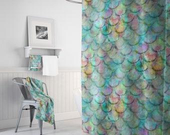 Mermaid shower curtain, Beach bathroom Decor, Colorful Fish Scale Shower Curtain, Bath Mat, Bathroom Floor mat
