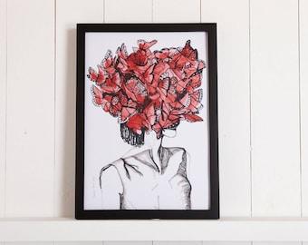 Butterfly Hat, Phillip Treacy + Alexander McQueen, Watercolour Fashion Illustration
