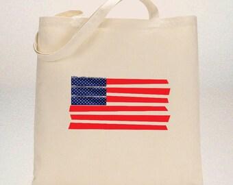 July 4th Tote Bag FLAG APPLIQUE,Patriotic Tote Bag,'Merican Tote Bag,Tote Bag 4th of July,Independence Day,American Tote Bag,USA Tote bag