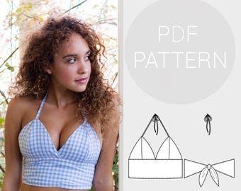 Womens halter neck bralet style cropped-top, with tie back fastening   PDF printable sewing pattern for woven Fabrics   Instant Download