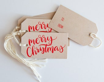 24 Hand Lettered Merry Christmas Gift Tags - Happy Holidays - Kraft Christmas Packaging - Hanging Tags