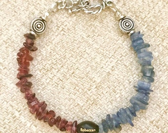 Free Shipping! BOBECCAN Handmade Kyanite and Garnet Gemstones Bracelet