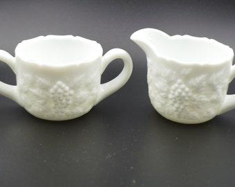 Vintage Westmoreland Milk Glass Cream and Sugar