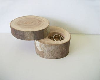 """Small Sycamore Wood Ring Box With Lid Proposal Box Rustic Ring Bearer """"Pillow"""" Log Wedding Jewelry Custom"""