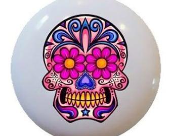 Day of the Dead Pink Sugar Skull Ceramic Knobs Pulls Kitchen Drawer Cabinet Vanity Closet