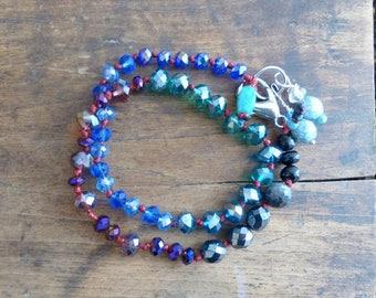 Boho chic, blue Bohemian bracelet