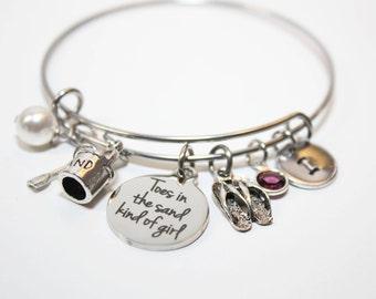 beach bracelet, personalized beach bracelet, beach theme bracelet, beach bangle, beach jewelry, beach theme gift, beach charm bracelet