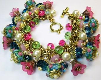 Artisan  Bracelet Floral Lampwork Crystal Vintage Primrose Antique Haskell Chain