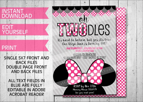 oh twodles invitations minnie mouse inspired printable