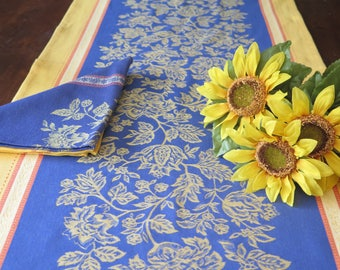 """Table Runner 65"""" long by21"""" wide. With or without matching napkins set .Jacquard cotton, Teflon.Fabric from Provence France"""