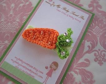 Girl hair clips - carrot hair clips - Easter hair clips - girl barrettes