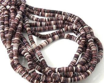 Violet Oyster Shell Beads, 4mm - 5mm, Purple/Maroon, Heishi, Thin, Small, Natural, Multi Colored, Extra Long 24 Inch Strand - ID 2075
