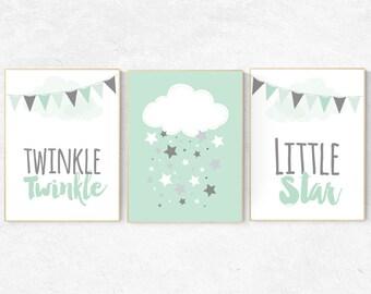 Twinkle Twinkle Little Star, Mint nursery decor, elephant nursery, cloud nursery, gender neutral baby,