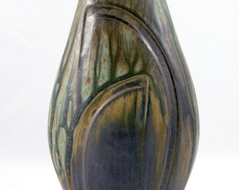 Cocoon Vase, Handmade Stoneware Vase, Thrown and Altered, Green, Gold, and Black