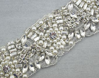 Rhinestone and Pearl Trim by the yard, Sew on Crystal Trim, bridal trim, luxury bridal rhinestone applique banding, beaded motif//M079