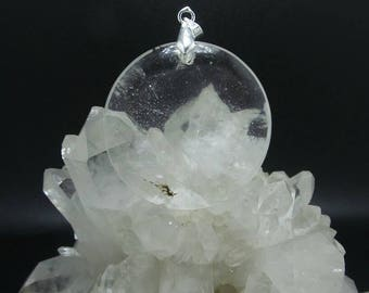 Quartz Crystal Medallion Pendant.