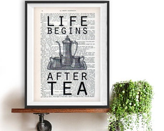 Vintage Teapot Print Kitchen Typographic Dining Room Decor Wall Art Poster Drawing Life Begins