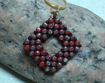 Red Beaded Square Pendant Necklace
