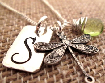 Initial Necklace - Dragonfly Initial Necklace with gemstone - Personalized Jewelry -