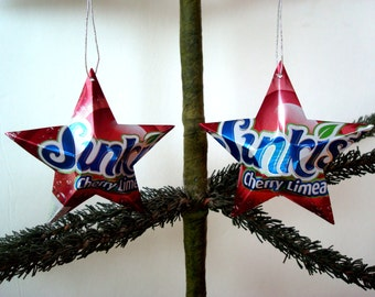 Recycled Sunkist Cherry Limeade Soda Can Aluminum Stars - 2 Christmas Ornaments Or Father's Day Gift