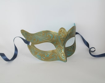 Masquerade Domino Mask Turquoise & Gold Party Mask Customizable