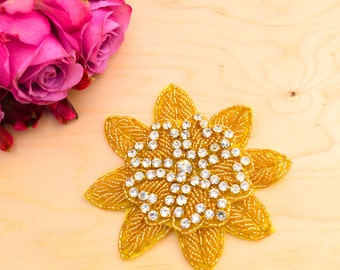 """Gold Beaded Flower Applique 4.5""""  Two Tiers with Rhinestone with Subliminal Heart Detail"""