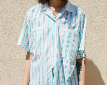 1980s Gintano Candy Striped High/Low Button up