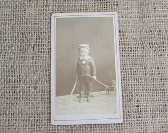 Antique Photograph of Boy with Wagon and Stick, Antique Photographs, Antique Children Photograph, Old Photographs, Photographs of Children