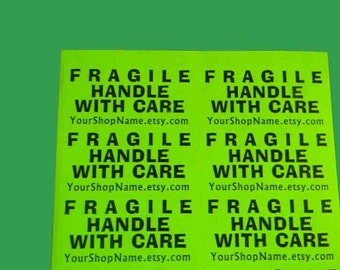 """20 LARGE 2x4-INCH Personalized FRAGILE Handle with Care Neon Green Labels. 2 Sheets 2x4"""" Labels. 5258"""