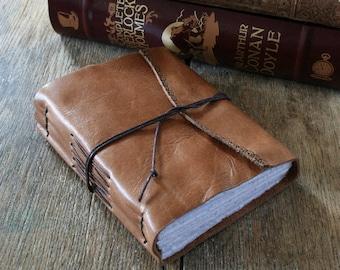 "Leather Journal - Jane Eyre / Charlotte Bronte: ""I am no bird, and no net ensnares me..."" antique tan . handmade handbound (320 pgs)"