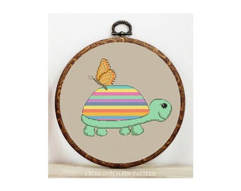 Colorful Turtle-Cross Stitch Pattern-Modern Sampler-Pdf-Instant Download