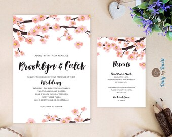 Cherry blossom wedding Invitations and RSVP Cards | Elegant wedding invitation kits | Cheap wedding invitations | Printed on premium paper