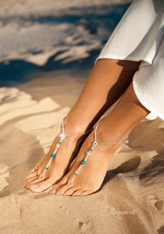 party of Starfish bridal set thong barefoot Maid sandals Honor of Blue barefoot foot Matching Beach wedding sandal Bridesmaid jewelry OwAqtf
