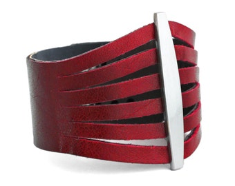 Women's Red Leather Cuff, Red Bracelet - Mother's Day Gift - The Flare