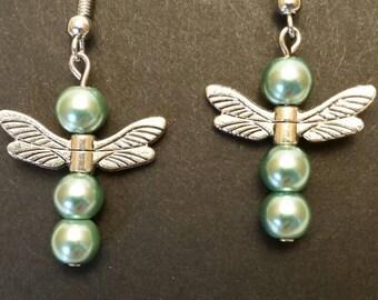 Czech Glass Light Green Beads with Dragonfly Wings Earrings
