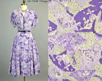 RESERVED*** Victorian Ladies Fan Print Dress L XL Vintage 40s Novelty Rayon Frock