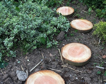 """Four 10"""" - 12"""" wooden garden stepping stones, rustic log slices"""