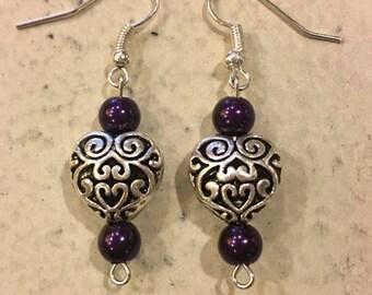 Romance Heart earrings-Purple