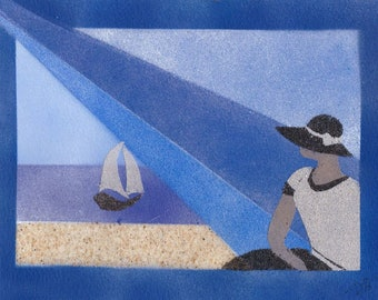 Natural sand painting 18x24 cm Lady and boat 1