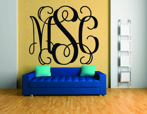 Items similar to Monogram Wall Decal - Fancy Monogram Font, Vinyl ...