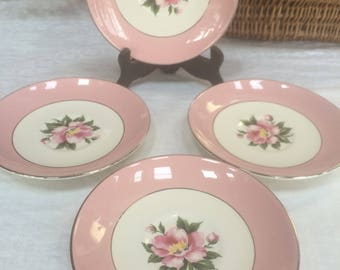 Set of 4 Vintage Century Service Empress Saucers, Pink & White Floral Pattern China, Replacement Pieces, Mid Century China, Shabby Chic