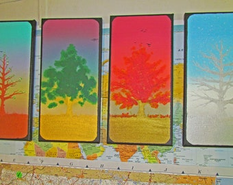 "Seasons and Growth - Original Acrylic Canvas Painting Set - 4x 7""x14"""