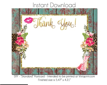 LipGloss Thank You Postcard, Makeup Artist, Template Instant Download - Notecard Invitation, Stationary, Lipgloss, Package Insert, Rustic