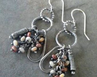 Rustic- Bohemian- OOAK-Sterling Silver- Lace Agate- Gemstone-Handmade-Artisan-Earrings.