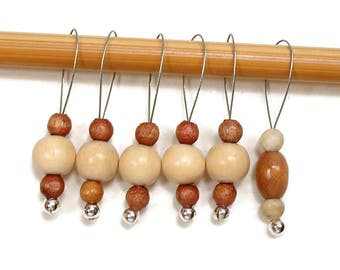Knitting Stitch Markers Snag Free DIY Natural Wood Brown Beige Beaded Stitch Markers Gift for Knitter Craft Supplies