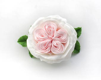 Peony rose barrette, polymer clay rose, bridal barrette, clay flowers