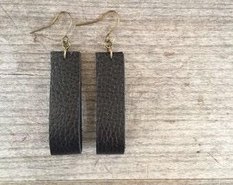 Black Leather Earrings - Leather Earrings - Boho Earrings - Leather Drop Earrings -Leather Dangle Earrings - Gift for Her - Boho Chic