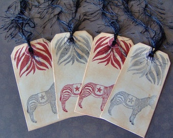 Gift Tags-Zebra Inspired Vintage Themed Gift Tags-Hand Stamped and Ink Distress Gift Tag-Book Mark Tags-4 Medium Sized Gift Tags