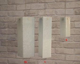 Fused glass pendant lights, wrinkled white. Chandelier lighting hanging. Ceiling light fixture, pendant light. choose size!